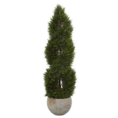 4 ft. High Indoor/Outdoor Double Pond Cypress Spiral Artificial Tree in Sand Planter