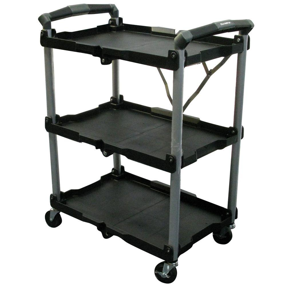 Utility Cart Storage 3 Tier Shelf Shelves Rolling Kitchen Folding Trolley Rack  sc 1 st  eBay & Utility Cart Storage 3 Tier Shelf Shelves Rolling Kitchen Folding ...