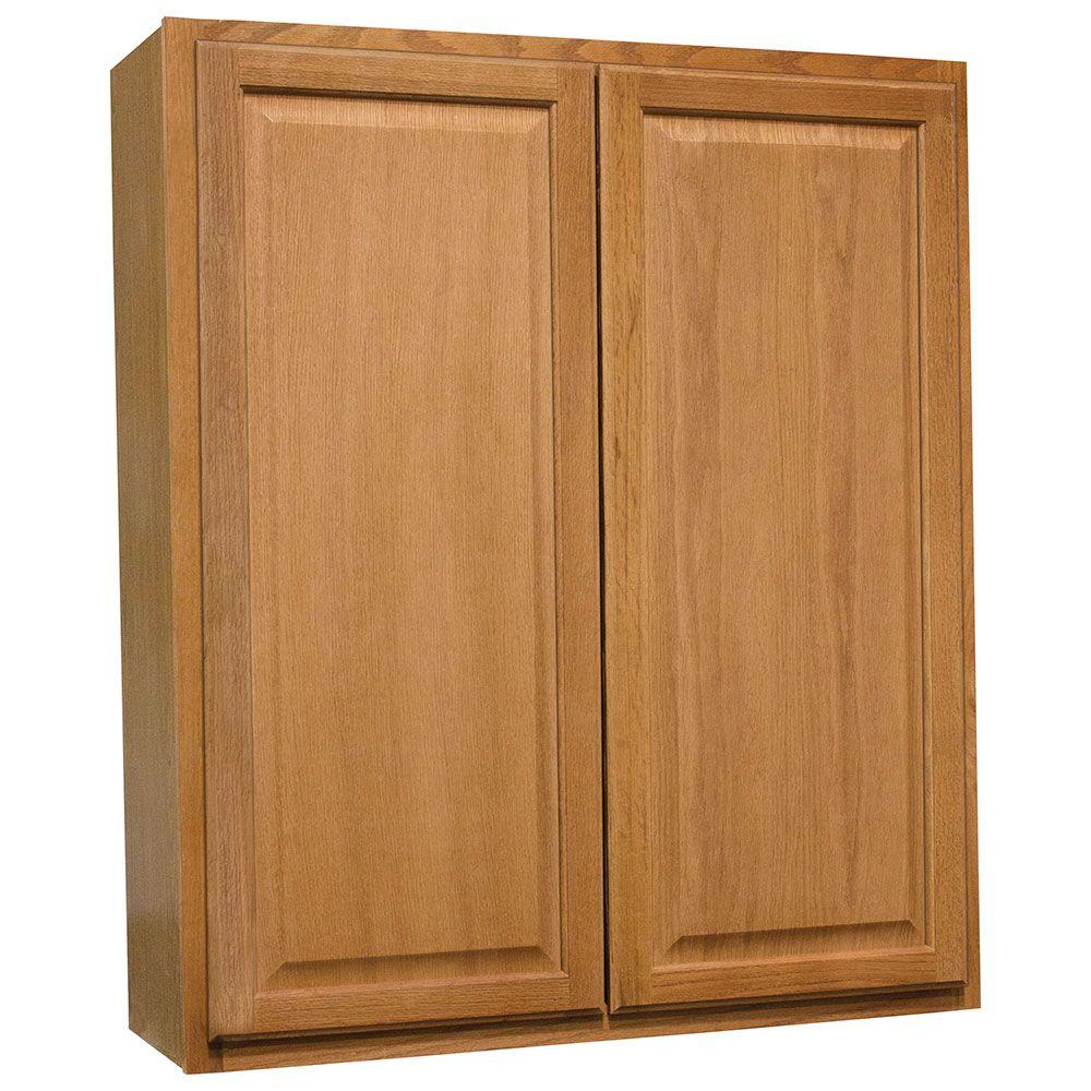 Hampton Bay Hampton Assembled 36x42x12 In Wall Kitchen Cabinet In Medium Oak Kw3642 Mo The