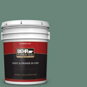 Behr Premium Plus 5 Gal S420 5 Sycamore Grove Flat Exterior Paint And Primer In One 430005 The Home Depot
