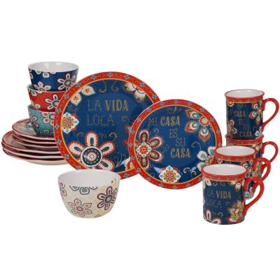 La Vida 16-Piece Multi-Colored Dinnerware Set