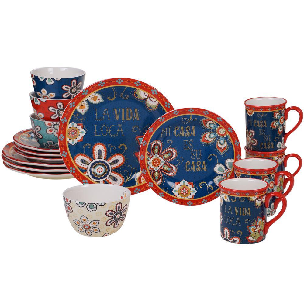 La Vida 16-Piece Country/Cottage Multi-Colored Ceramic Dinnerware Set (Service for 4)