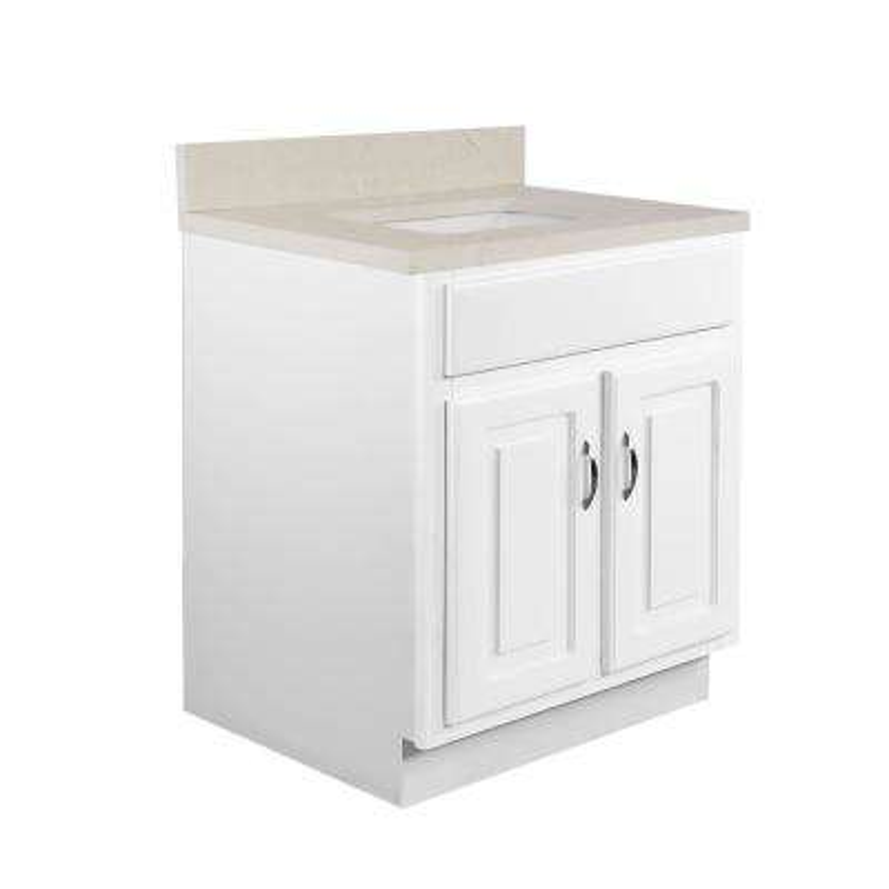 24 in. x 21 in. x 30 in. 2-Door Bath Vanity in White with 4 in. Centerset Giallo Quartz Vanity Top with White Basin