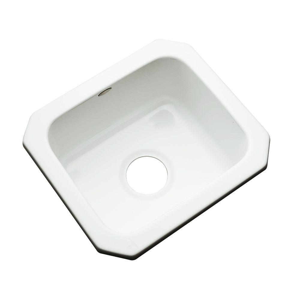 Thermocast Manchester Undermount Acrylic 16 in. 0-Hole Single Bowl Entertainment Sink in White