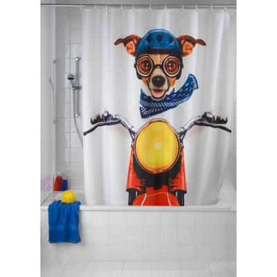 79 in. LED Shower Curtain Moon Cat