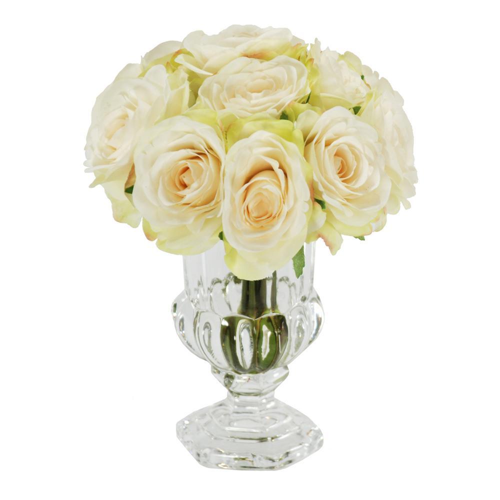 9 in. Rose in Glass Urn