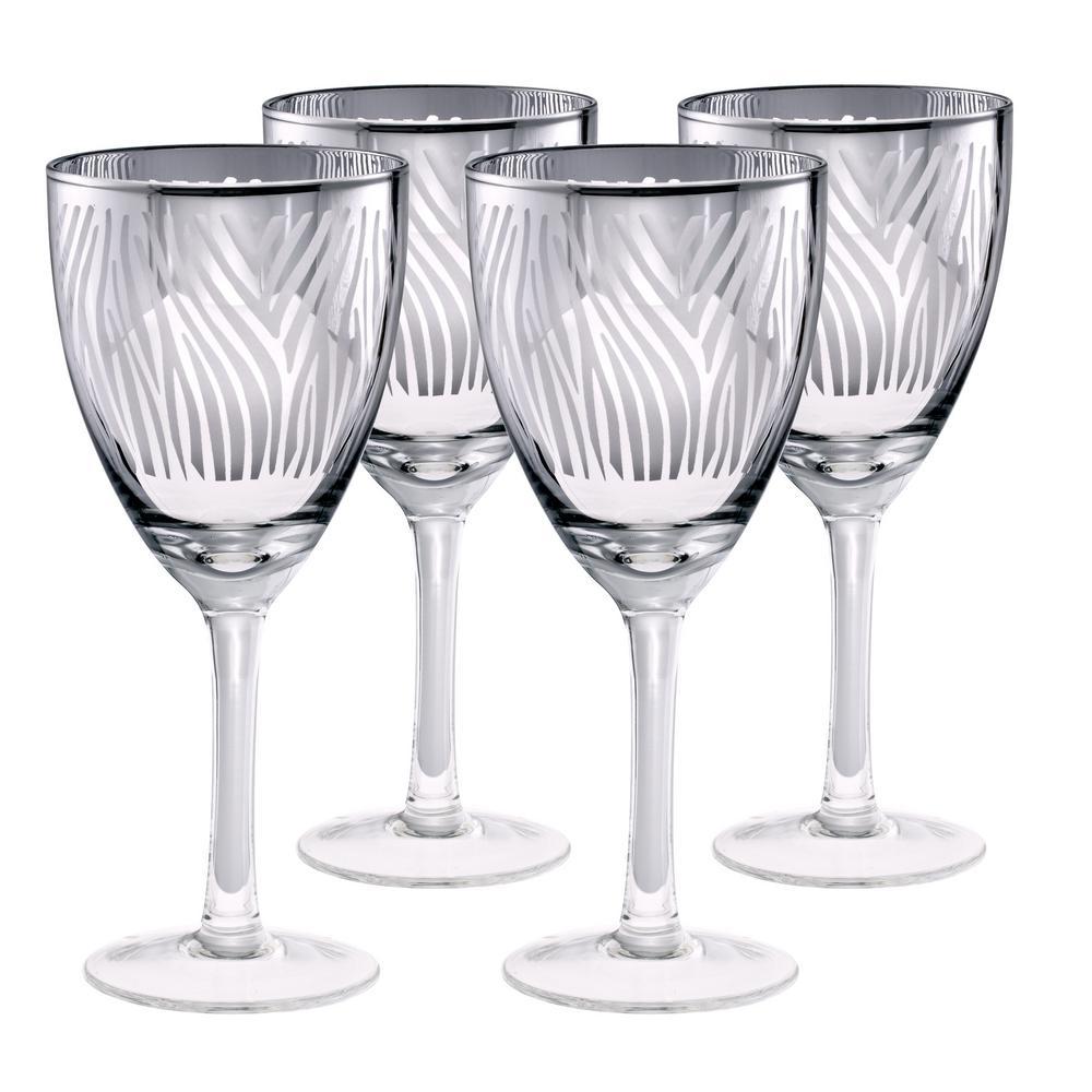 14 oz. Zebra Design Wine Glass (Set of 4)