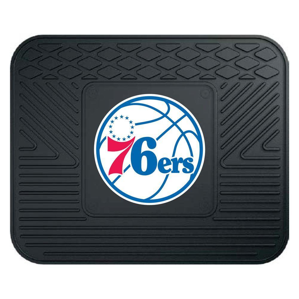 FANMATS NBA Philadelphia Black Heavy Duty 14 in. x 17 in. Vinyl Utility Mat