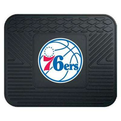 NBA Philadelphia Black Heavy Duty 14 in. x 17 in. Vinyl Utility Mat
