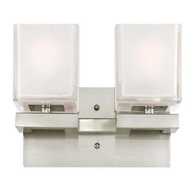 Nyle 2-Light Brushed Nickel Wall Mount Bath Light