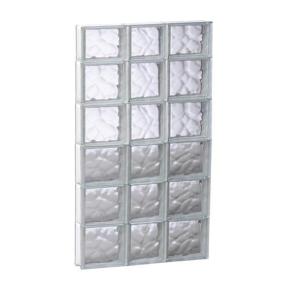 21.25 in. x 44.5 in. x 3.125 in. Frameless Wave Pattern Non-Vented Glass Block Window