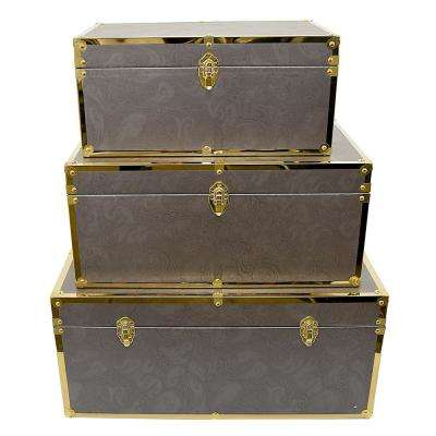 28 in. x 16 in. x 13 in. Nested Wood Trunks (Set of 3)