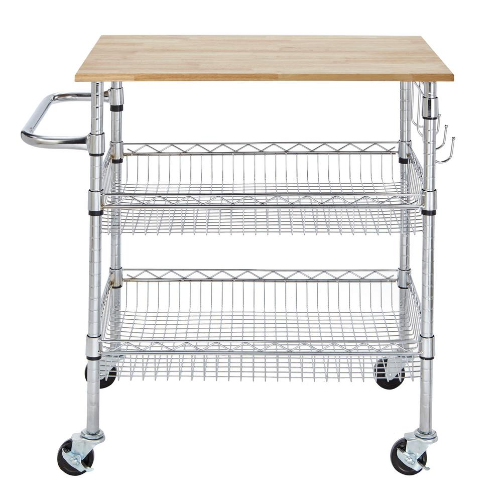 stylewell gatefield chrome large kitchen cart with rubber wood top - Kitchen Carts