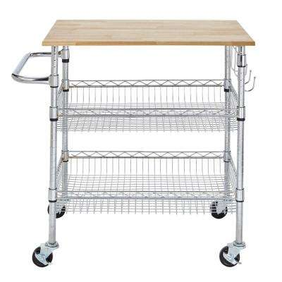 Gatefield Chrome Large Kitchen Cart with Rubber Wood Top