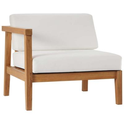 Bayport Natural Teak Left-Arm Outdoor Lounge Chair with White Cushions