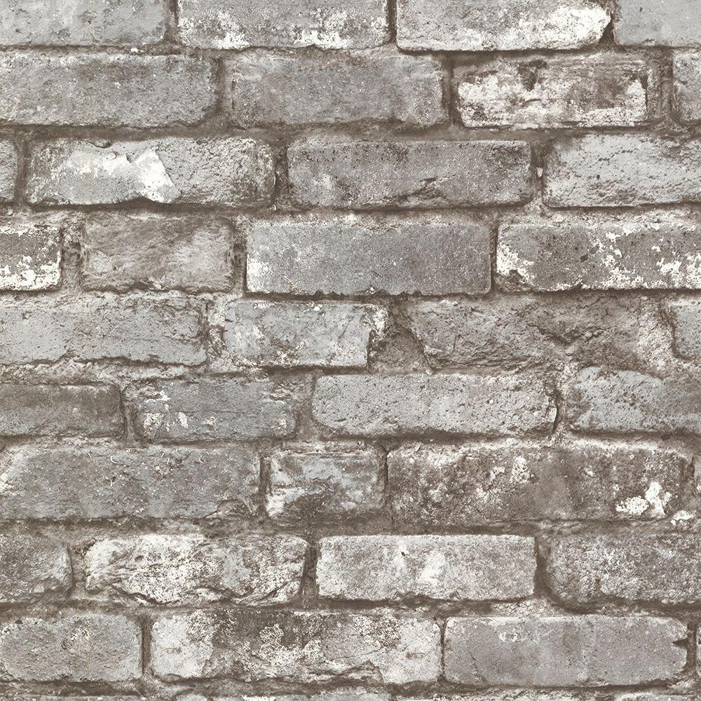Brewster Brewster 56.4 sq. ft. Debs Dove Exposed Brick Wallpaper, Grey