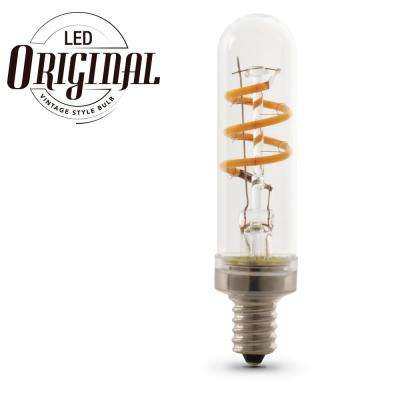 25W Equiv T8 Candelabra Dimmable LED Clear Glass Vintage Light Bulb With Spiral Filament Soft White (4-Pack)
