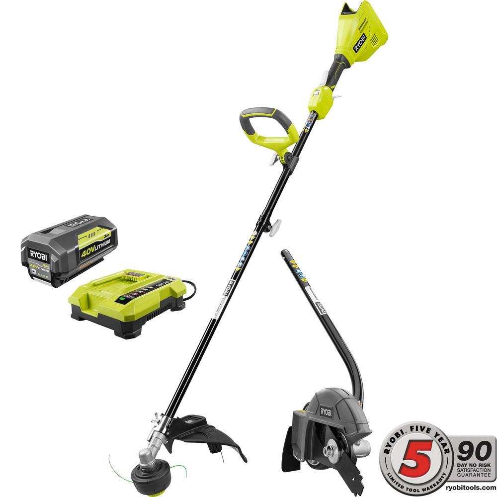 Leaf 2018 Charger >> Ryobi Expand-It 40-Volt Lithium-Ion Cordless String Trimmer Combo Kit with Edger Attachment 3.0 ...