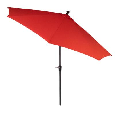 10 ft. Aluminum Market Patio Umbrella in CushionGuard Ruby with Auto Tilt