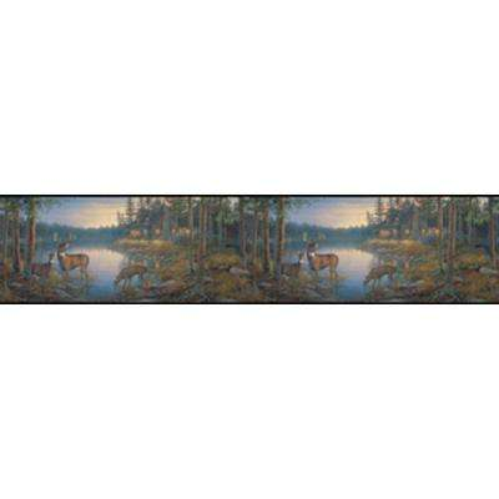 Lake Forest Lodge Quiet Places Wallpaper Border