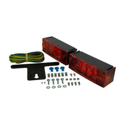 Trailer Lamp Kit 7-7/8 in LED Low Profile Submersible Rectangular Lights Red for Under and Over 80 in.