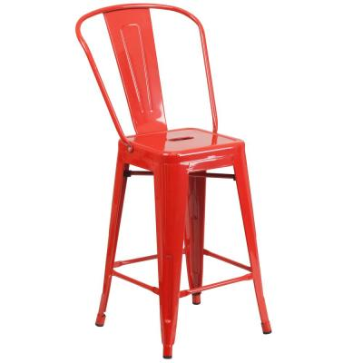 24.25 in. Red Bar Stool