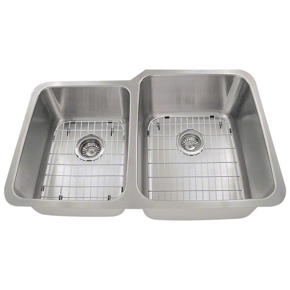 Polaris Sinks Undermount Stainless Steel 32 In Double Bowl Kitchen Sink Kit Pr315 Ens The Home Depot
