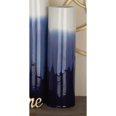 17 in. Modern Gradient White and Blue Ceramic Decorative Vase