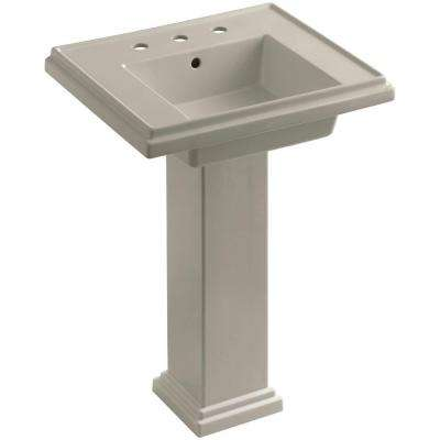 Tresham Ceramic Pedestal Combo Bathroom Sink with 8 in. Centers in Sandbar with Overflow Drain