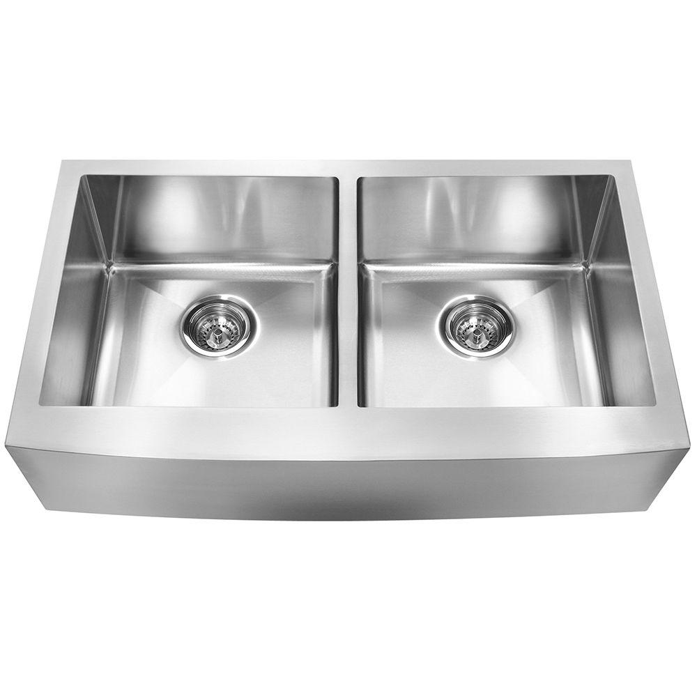 High Quality Franke Farmhouse Undermount Stainless Steel 33x19x9 0 Hole 18 Gauge Double  Bowl Kitchen Sink FFD33B 9 18   The Home Depot