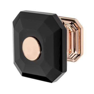 Clubhouse 1-5/16 in. Rose Gold with Black Crystal Cabinet Knob