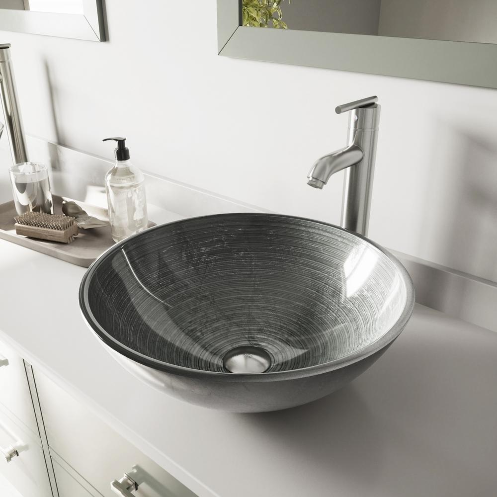 Vigo Glass Vessel Bathroom Sink In Simply Silver And Seville