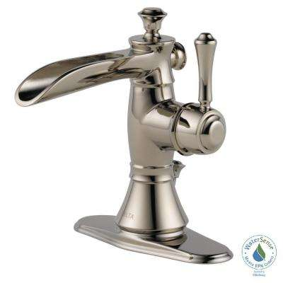 Cassidy Single Hole Single-Handle Open Channel Spout Bathroom Faucet with Metal Drain Assembly in Polished Nickel