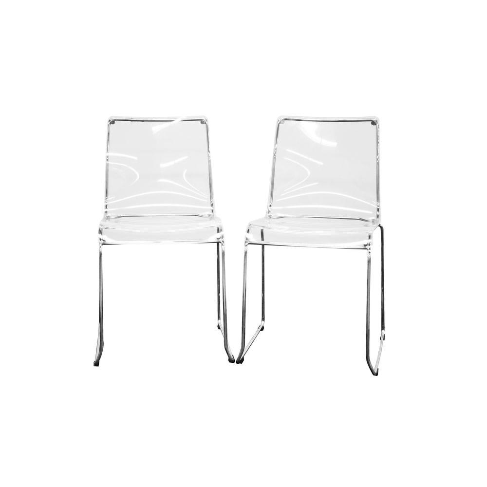 Baxton Studio Lino Clear Acrylic Dining Chairs (Set Of 2)