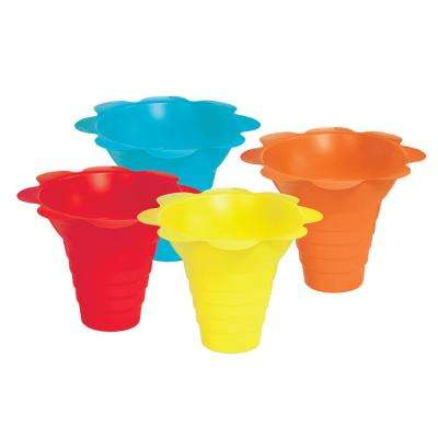 4 oz. Multicolor Flower Drip Tray Snow Cone Cups