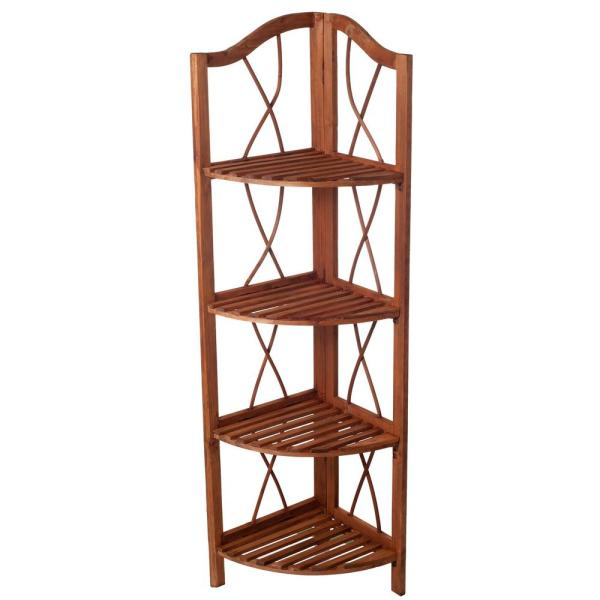 Lavish Home 4-Tier Rustic Cedar Wooden Folding Corner Shelf