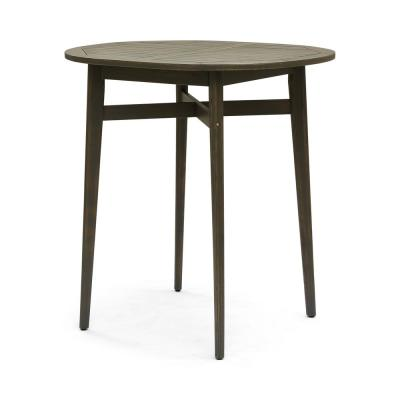 Stamford 39.75 in. Grey Wood Bar Height Outdoor Patio Table