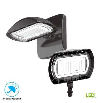 Large Bronze Outdoor Integrated LED Floodlight with Wall Pack Mount 3000 Lumens and DLC-Rating