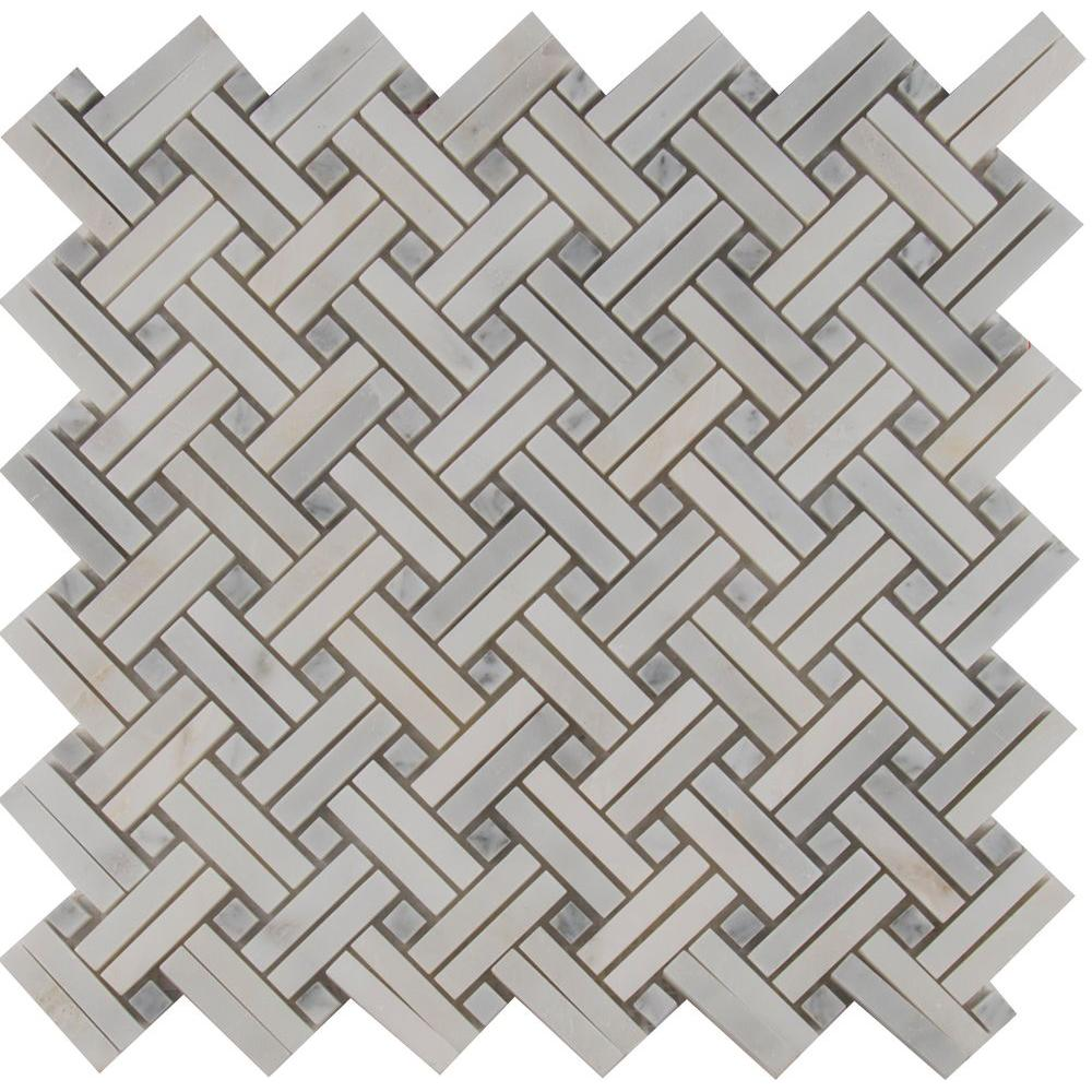 Basketweave mosaic tile tile the home depot greecian white basketweave 12 in x 12 in x 10 mm polished marble mesh dailygadgetfo Gallery