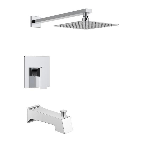 1-Handle Wall Mounted Tub and Shower Trim Kit with Handle in Chrome (Valve not Included)