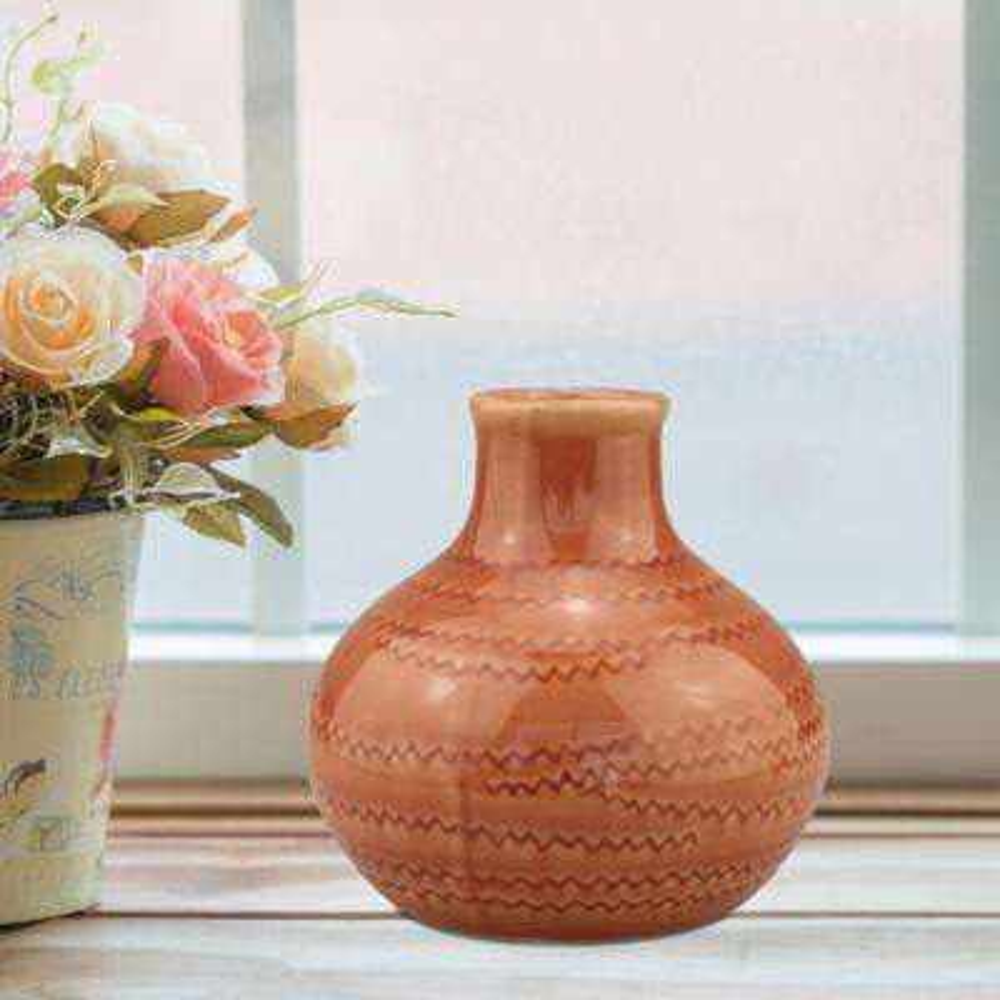 5 in. Ceramic Terra Cotta Small Vase with Detail in Peach