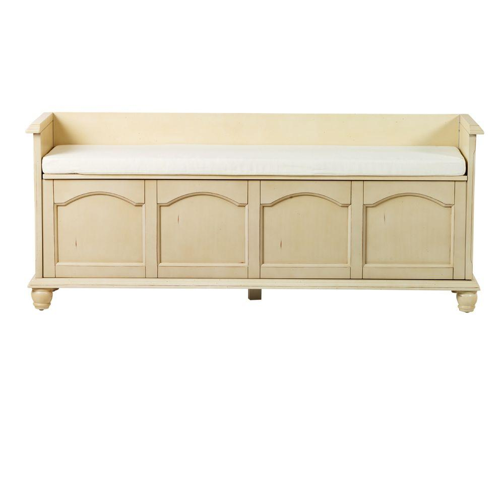 Harwick Antique White Storage Bench