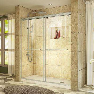 Charisma 34 in. x 60 in. x 78.75 in. Semi-Frameless Sliding Shower Door in Brushed Nickel with Right Drain Shower Base