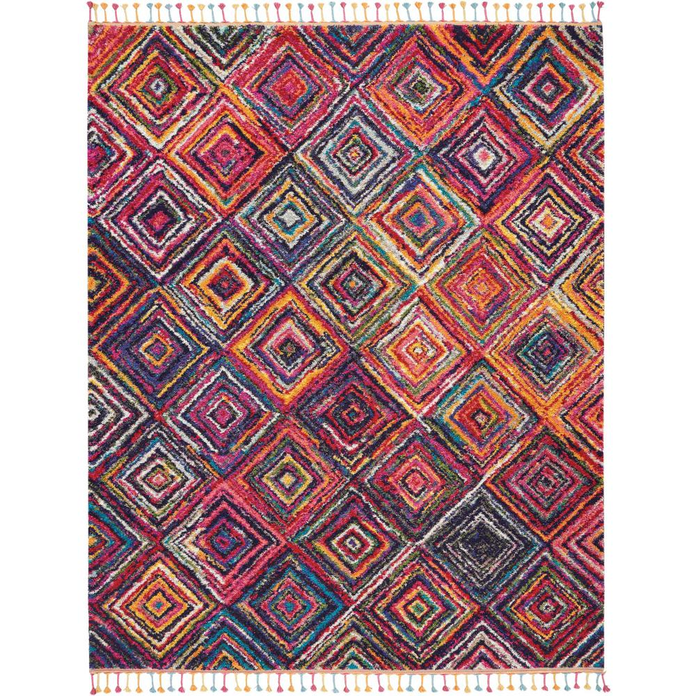 Nourison Moroccan Casbah Navy Indoor Moroccan Area Rug: Nourison Moroccan Casbah 7' X 10' Red Tribal Area Rug