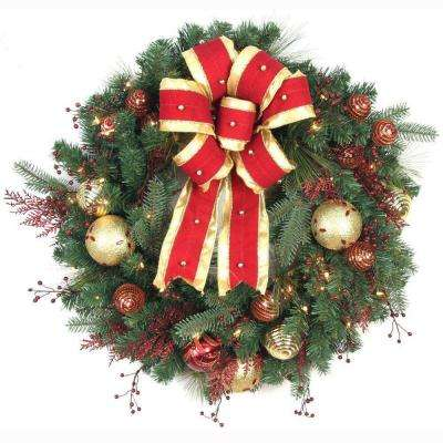 32 in. LED Pre-Lit Hilltop Artificial Christmas Wreath with Ribbon, Baubles and 50 Battery-Operated Warm-White Lights