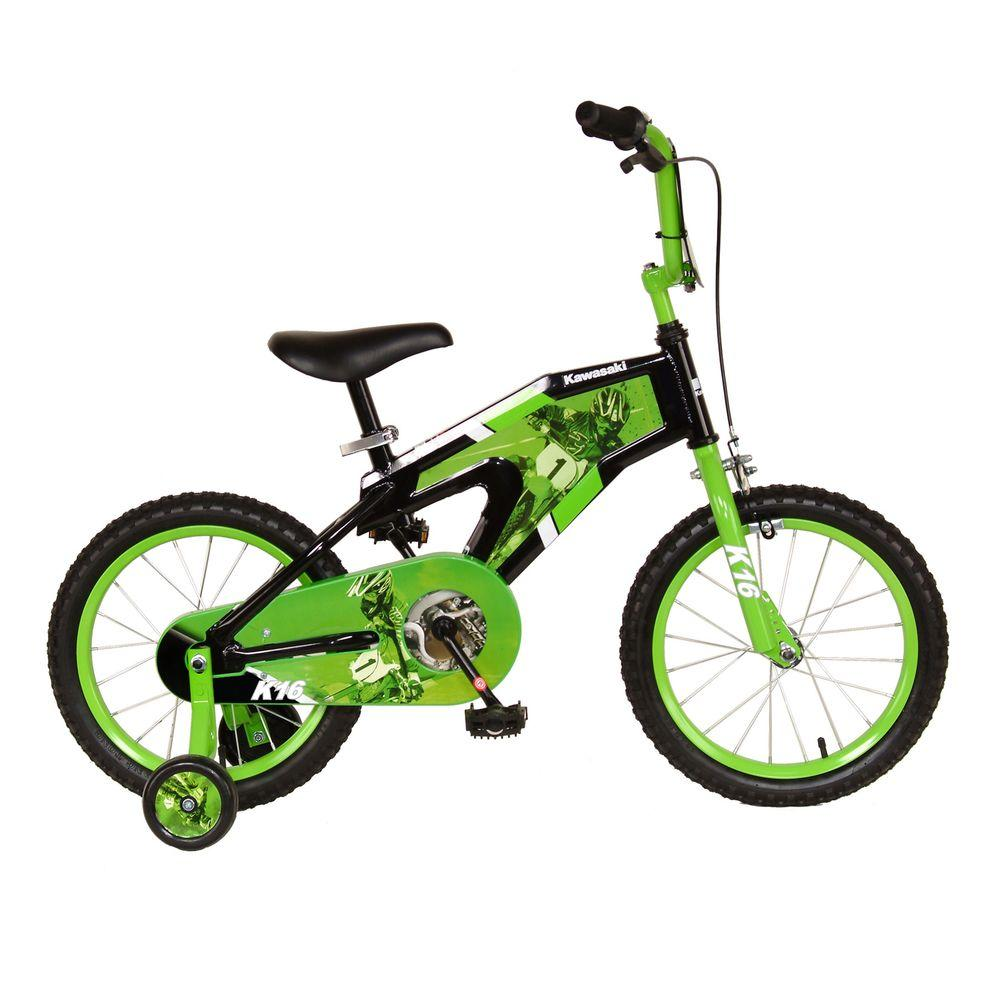 Kawasaki Monocoque Kid\'s Bike, 16 in. Wheels, 11 in. Frame, Boy\'s ...