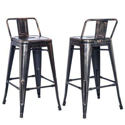 26 in. Height Low Back High Feet Metal Bar Stools (Set of 2)