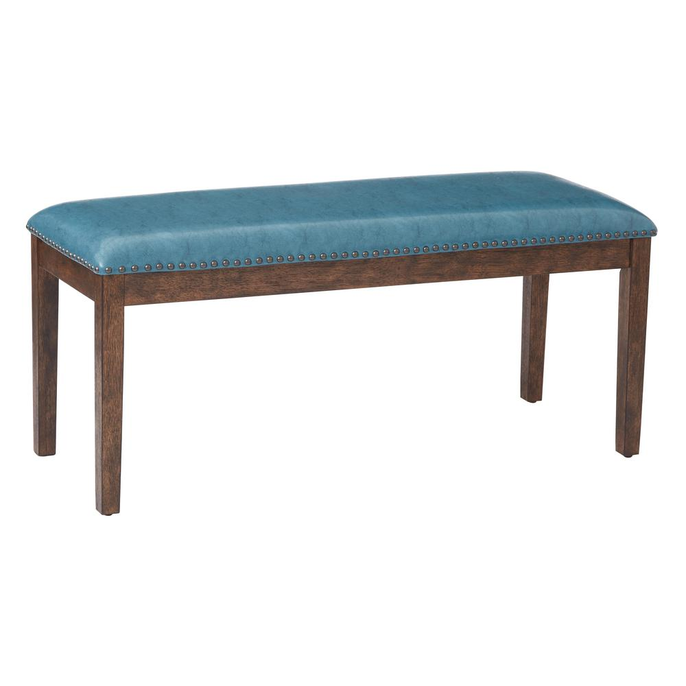 Avenue Six Ave Curves Upholstered Bench With 2 Bolster Pillows And Espresso Finish Wood Legs