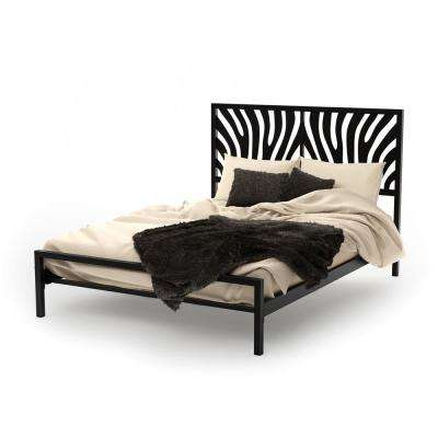 Zebra Black Metal Queen Size Bed