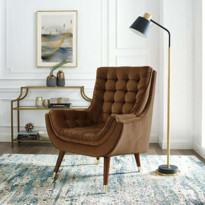 Suggest Brown Button Tufted Upholstered Velvet Lounge Chair